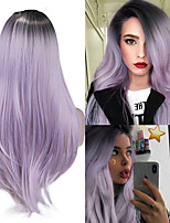 cheap -Synthetic Wig Natural Straight Middle Part Wig Medium Length Ombre Purple Light Blue Synthetic Hair Women's Cosplay Party Fashion Blue Purple