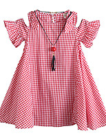 cheap -girls' summer new necklace korean dress, big children's plaid leaky shoulder skirt, children's summer skirt