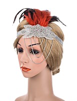 cheap -1920s Retro Fabric Fascinators with Feather / Crystals / Chain 1 Piece Special Occasion / Party / Evening Headpiece