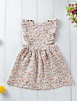 cheap -Kids Little Girls' Dress Floral Print Beige Knee-length Sleeveless Active Dresses Summer Regular Fit 2-6 Years