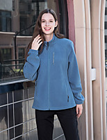 cheap -Women's Hiking Jacket Hiking Fleece Jacket Autumn / Fall Winter Spring Outdoor Solid Color Windproof Warm Quick Dry Lightweight Outerwear Winter Jacket Top Full Zip Hunting Fishing Climbing Red Blue