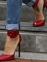 cheap -Women's Sandals Stiletto Heel Peep Toe PU Synthetics Red