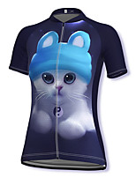 cheap -21Grams Women's Short Sleeve Cycling Jersey Spandex Dark Navy Cat 3D Bike Top Mountain Bike MTB Road Bike Cycling Breathable Sports Clothing Apparel / Stretchy / Athleisure