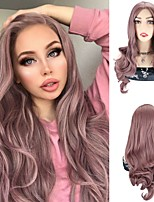 cheap -Synthetic Wig Body Wave Silky Wavy Middle Part Wig 24 inch Violet Pink Synthetic Hair 24 inch Women's Cosplay Party African American Wig Pink