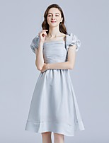cheap -A-Line Minimalist Elegant Homecoming Cocktail Party Dress Scoop Neck Short Sleeve Knee Length Spandex with Ruched 2021