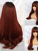 cheap -Synthetic Wig Curly Neat Bang Wig Medium Length A1 A2 Synthetic Hair Women's Cosplay Party Fashion Black Burgundy