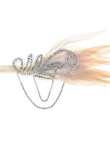 cheap -1920s Vintage Inspired Feather Fascinators with Feather / Crystals / Chain 1 Piece Special Occasion / Party / Evening Headpiece