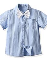 cheap -Kids Boys' Shirt Short Sleeve Striped Children Children's Day Tops Basic Blue 2-3 Y