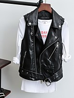 cheap -Women's Jacket Solid Color Zipper Punk Fashion Fall Notch lapel collar Jacket Regular Causal Sleeveless PU Leather Coat Tops