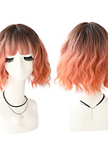 cheap -Synthetic Blend Wigs Short Hair Deep Wave Soft Cosplay Wig With Bangs For Women Curly Colorful Wig