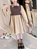 cheap -Kids Little Girls' Dress Color Block Birthday Party Patchwork Khaki Knee-length Long Sleeve Sweet Dresses Children's Day Summer Regular Fit 3-13 Years
