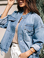 cheap -Women's Solid Colored Basic Spring &  Fall Jacket Regular Daily Long Sleeve Denim Coat Tops Blue