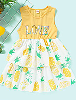 cheap -Kids Toddler Little Girls' Dress Pineapple Graphic Print Yellow Knee-length Sleeveless Active Dresses Summer Regular Fit 2-8 Years