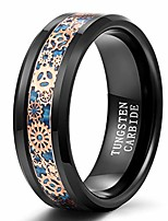 cheap -trumium 8mm mens tungsten ring gear steampunk wheel carbon fiber inlay wedding band black comfort fit size 8.5