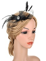 cheap -Elegant Retro Tulle / Feathers Fascinators with Feather / Crystals 1 Piece Special Occasion / Party / Evening Headpiece