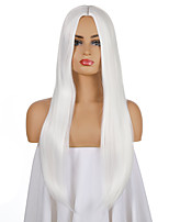 cheap -Synthetic Wig Natural Straight Middle Part Wig Long White Synthetic Hair Women's Cosplay Party Fashion White