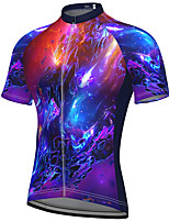 cheap -21Grams Men's Short Sleeve Cycling Jersey Spandex Purple Galaxy Bike Top Mountain Bike MTB Road Bike Cycling Breathable Quick Dry Sports Clothing Apparel / Athleisure