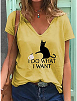 cheap -Women's T shirt Animal Print V Neck Tops Cotton Basic Basic Top White Blue Purple
