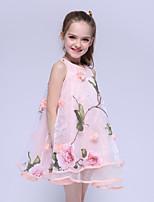 cheap -Kids Little Girls' Dress Flower Holiday Festival Print Blushing Pink Above Knee Sleeveless Cute Dresses Summer Regular Fit 5-13 Years