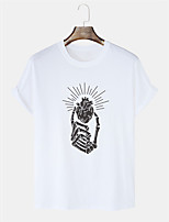 cheap -Men's Unisex T shirt Hot Stamping Graphic Prints Hand Plus Size Print Short Sleeve Daily Tops 100% Cotton Basic Casual White Black Blushing Pink
