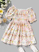 cheap -Kids Toddler Little Girls' Dress Graphic Print White Knee-length Short Sleeve Active Dresses Summer Regular Fit 2-8 Years