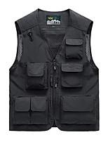 cheap -Men's Hiking Vest / Gilet Fishing Vest Work Vest Sleeveless Vest / Gilet Jacket Top Outdoor Multi-Pockets Quick Dry Lightweight Breathable Autumn / Fall Spring Summer Elastane Solid Color Black