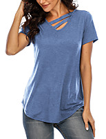 cheap -Women's T shirt Plain Cut Out V Neck Tops Basic Sexy Basic Top Black Blue Wine