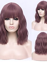 cheap -Short Bobo Wavy Cosplay Wigs for Women Purple Red Green Natural Bob Synthetic Wig Brown Blue Black with Bang for Girl