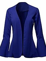 cheap -goddessvan 2019 women's ladies crop frill shift flare sleeve peplum slim fit blazer jacket coat blue