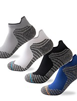 cheap -Men's Hiking Socks 1 Pair Outdoor Soft Stretchy Sweat wicking Comfortable Socks Patchwork Chinlon Polyester White Black Blue for Hunting Fishing Climbing