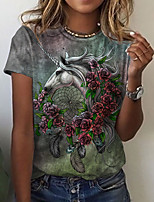 cheap -Women's T shirt Graphic Floral Animal Print Round Neck Tops Basic Basic Top Purple