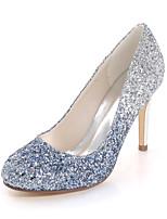 cheap -Women's Wedding Shoes Stiletto Heel Round Toe Wedding Pumps Synthetics Color Block Black Fuchsia Blue