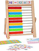 cheap -Kids Learning Toy 10-Row Wooden Frame Abacus with Multi-Color Beads Counting Sticks Number Alphabet Cards Manipulative Math Calculating Tool Gift for 3 Old Boys Girls
