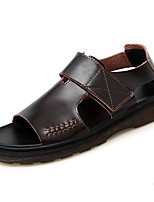 cheap -Men's Sandals Casual Beach Daily Water Shoes Upstream Shoes Nappa Leather Breathable Non-slipping Wear Proof Black Brown Summer
