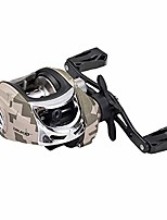 cheap -camouflage baitcasting reels, 7.3:1 high speed gear ratio fishing reels with magnetic braking system, 17.6 lb carbon fiber drag (left)