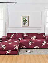 cheap -Burgundy Floral Dustproof All-powerful Stretch L Shape Sofa Cover Super Soft Fabric with One Free Pillow Case
