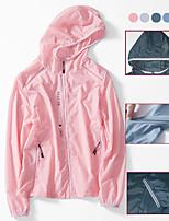 cheap -Women's Hiking Skin Jacket Hiking Windbreaker Autumn / Fall Spring Summer Outdoor Solid Color Waterproof UV Sun Protection Windproof Ultra Light (UL) Jacket Hoodie Top Elastane Full Zip Hunting