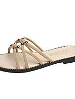 cheap -Women's Slippers & Flip-Flops Flat Heel Open Toe Suede Solid Colored Black Khaki