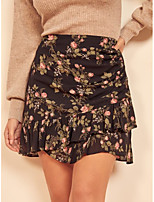 cheap -Women's Vacation Going out Vintage Streetwear Skirts Floral Graphic Ruched Ruffle Print Black