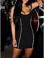 cheap -Women's Sports Dress Short Mini Dress White Black Sleeveless Solid Color Backless Summer Casual 2021 S M L XL