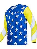 cheap -CAWANFLY Men's Long Sleeve Cycling Jersey Downhill Jersey with Pants Dirt Bike Jersey Winter Blue+Yellow Novelty Funny Bike Tee Tshirt Jersey Top Mountain Bike MTB Road Bike Cycling Quick Dry