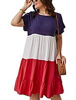 cheap -yoxua womens casual plus size dress,ruffle short sleeve loose crewneck color block loose swing dresses xl-4xl red
