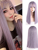 cheap -Synthetic High Temperature Fiber Long Straight Wigs for Women Purple Gray Green Cosplay With Bangs Natural Hairpieces Blunt Cut Bob