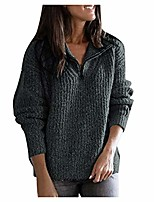 cheap -vefsu women's winter fashion ribbed zipper lapel pullover long sleeve solid casual sweater tops dark gray m