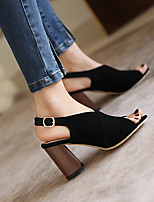 cheap -Women's Sandals Chunky Heel Round Toe PU Buckle Solid Colored Almond Black Brown