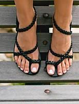 cheap -Women's Sandals Boho Bohemia Beach Flat Heel Round Toe PU Solid Colored Black Gold