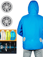 cheap -Men's Women's Hoodie Jacket Hiking Jacket Outdoor Summer Fan Cooling Jacket Air Conditioning Cool Coat Top Sun Protection Jacket 2 USB Powered Fans Waistcoat Hood