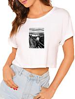 cheap -Women's Crop Tshirt Graphic Graffiti Print Round Neck Tops 100% Cotton Basic Basic Top White Black