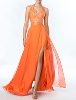 cheap -A-Line Beautiful Back Sexy Engagement Prom Dress Halter Neck Sleeveless Floor Length Chiffon with Pleats Split 2021