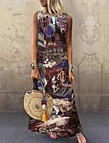 cheap -Women's Shift Dress Maxi long Dress Brown Sleeveless Print Color Block Print Spring Summer Round Neck Casual 2021 S M L XL XXL 3XL